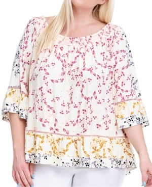 Fever Plus Size Smocked-Neck Printed Top