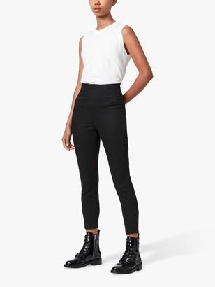 AllSaints Cora Zip Up Leggings, Black