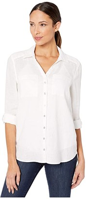 Vince Camuto Long Sleeve Roll Tab Two-Pocket Button-Down Linen Blouse