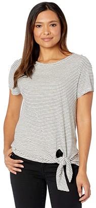 Lauren Ralph Lauren Tied-Hem Jersey Tee (Mascarpone Cream/Polo Black) Women's Clothing