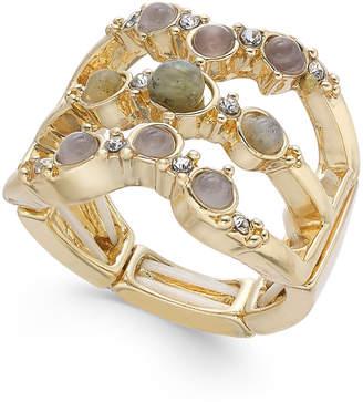 INC International Concepts Inc Gold-Tone Multi-Stone Triple-Row Stretch Ring