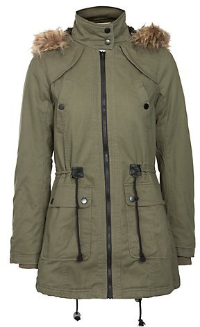 New Look Khaki Fur Trim Hooded Parka