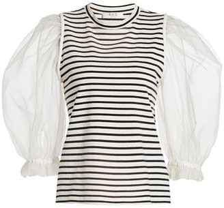 Sea James Organza Sleeve Striped Knit Tee