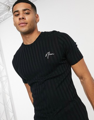 New Look ribbed t-shirt with embroidered NLM in black