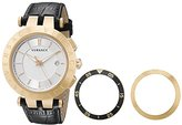 Versace Men's 23Q80D002 S009 V-Race 3 Hands Rose-Gold Plated 3-Interchangeable Rings Leather Watch