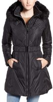CeCe Women's 'Hailey' Belted Down Coat With Removable Faux Fur Trim Hood