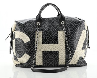 Chanel Logo Bowling Bag Printed Coated Canvas Large