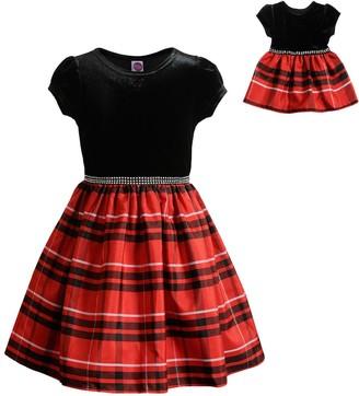 Dollie & Me Girls 4-10 Velvet Bodice/Plaid Skirt Dress with Matching Doll Dress