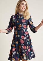 ModCloth Tie Neck Work Dress with Belt in L
