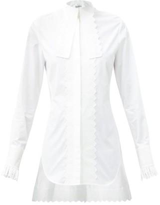 Paco Rabanne Long-lapel Broderie-trimmed Cotton-poplin Shirt - White