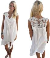 Doinshop BOHO Sleeveless Womens Loose Summer Beach Lace Chiffon Dress (L)