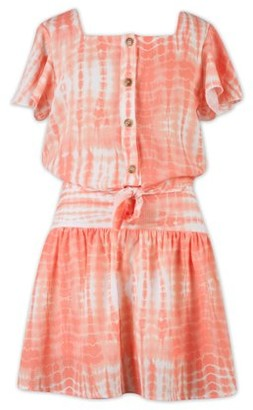 Lots of Love by Speechless Girls Short Sleeve Button Down Tie Waist Top and Skirt, 2 Piece Outfit Set, Sizes 7-16