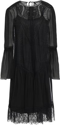 Alberta Ferretti Gathered Lace-paneled Silk-voile Dress