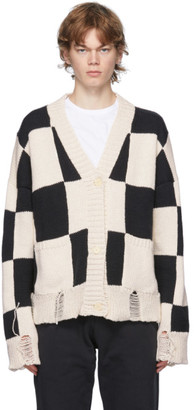Rhude Black and White Check Hand-Knit Sweater