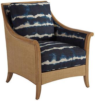 Barclay Butera Nantucket Raffia Accent Chair - Indigo Linen frame, sand/natural; upholstery, indigo/ivory