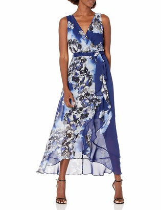 Sangria Women's Sleevelss Floral Wrap Maxi Dress