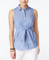 Amy Byer Juniors' Striped Tie-Front Blouse