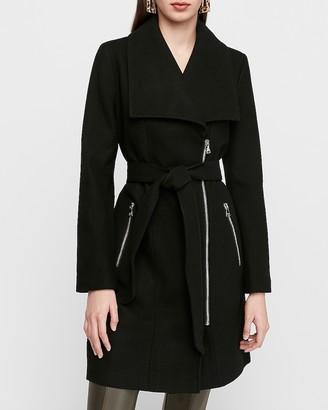 Express Long Belted Wool-Blend Zip Front Coat