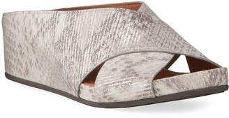 Gentle Souls Gisele Crisscross Metallic Slide Sandals
