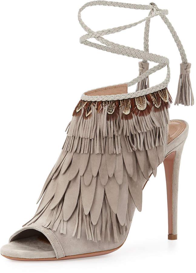 Aquazzura Fringed Suede Ankle-Tie Sandal