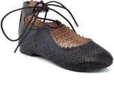 Black Perforated Ankle-Tie Flat