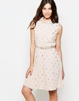 Yumi Belted Skater Dress In Cactus Foil Print