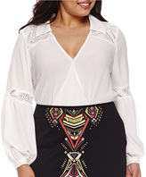 Bisou Bisou Long-Sleeve Twist-Front Lace Blouse - Plus