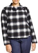 BB Dakota Plus Ronette Raw Edge Plaid Jacket