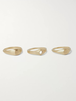 M. Cohen Stack 2 Set Of Three Brushed 18-Karat Gold Rings