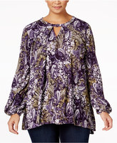 Style&Co. Style & Co. Plus Size Printed Keyhole Top, Only at Macy's