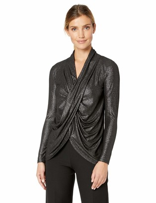 Chaus Women's Long Sleeve Shiny Ribbed Drape Front Top