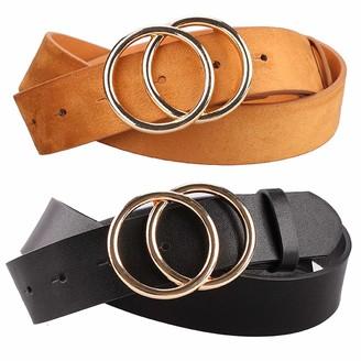 Earnda Women's Faux Leather Belts Dress Double Buckle PU Waistband 2 Pieces - black - Medium