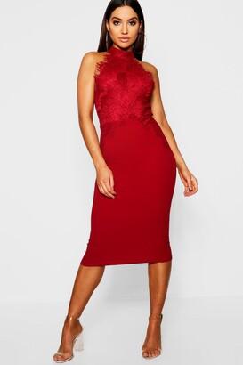 boohoo Eyelash Lace Midi Dress