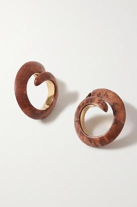 Bottega Veneta Gold-tone Wood Earrings - Brown