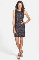 Adrianna Papell Petite Women's Boatneck Lace Sheath Dress