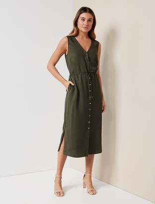 Forever New Rachelle Button Midi Dress - Thornbill Green - 10