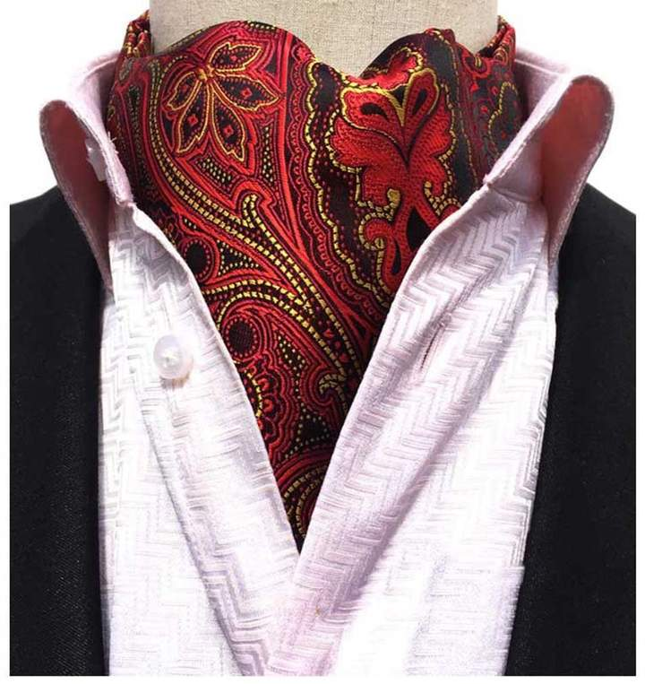 Red And White Paisley Patterned Handmade 100% Silk Tie Blue Black