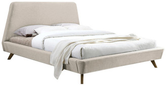 Omax Decor Henry Mid-Century Modern Upholstered Platform Bed, Beige, Queen