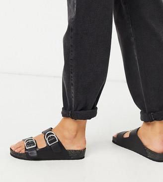 London Rebel wide fit double buckle footbed sandal in black