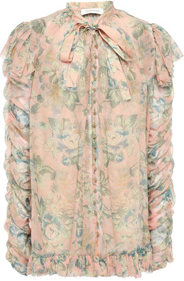 Zimmermann Pussy-bow Ruched Floral-print Silk-georgette Blouse