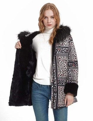 Bellivera Womens Printed Double Sided Faux Fur Jacket with Fur Collar Hooded The Coat Worn on Both Sides Air Layer 19229 Small