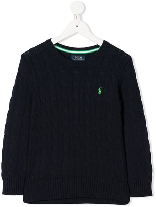 Ralph Lauren Kids Embroidered Logo Cable-Knit Jumper