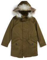 Burberry Boy's Rupert Hooded Sateen Parka With Genuine Fox Fur Trim