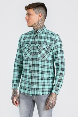 boohoo Mens Green MAN Check Shirt With Woven Tab And Raw Hem, Green