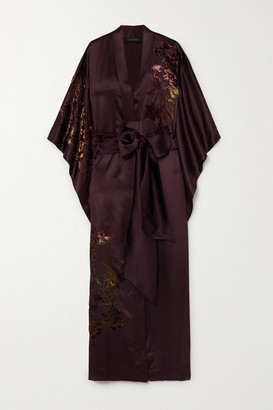Carine Gilson Belted Appliqued Embroidered Silk-satin Robe - Burgundy