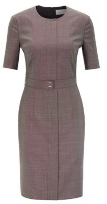 HUGO BOSS - Shift Dress In Italian Virgin Wool With Belt Detail - Patterned