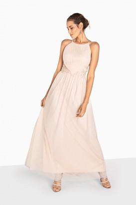 Little Mistress Niamh Applique Waist Strappy Maxi Dress
