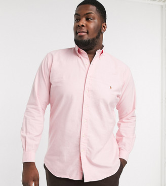Polo Ralph Lauren Big & Tall oxford shirt custom regular fit player logo in pink