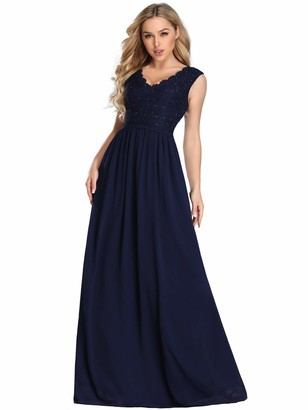 Ever Pretty Ever-Pretty Women's Lace Bodice V Neck Floor Length A Line Chiffon Evening Dress Navy Blue 12UK