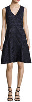 J. Mendel Sleeveless Fil Coupe Dress, Blue
